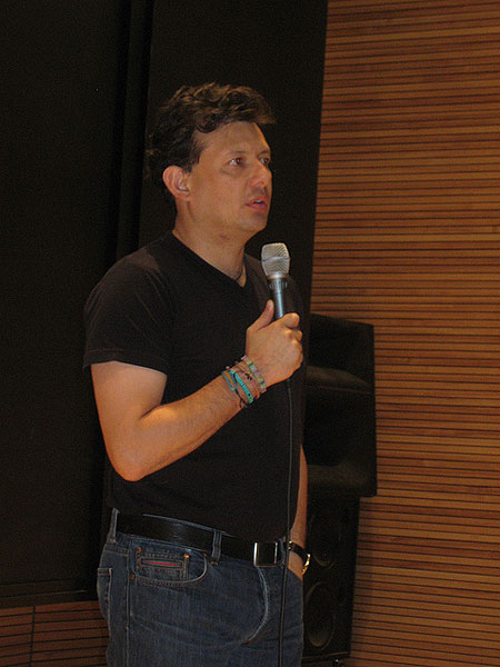 Colombian journalist and filmmaker Hollman Morris during the presentation of his documentary