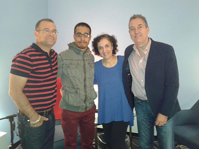 lt to rt, filmmaker Ernesto Daranas, Juan Pablo Daranas, WNPR Managing editor and Morning Edition local host Diane Orson, and NEFIAC President Leonel Limonte, at WPNR's New Haven studio